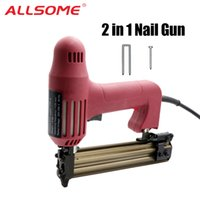 Wholesale wood works tools resale online - ALLSOME in Powerful Electric Staples Nail Guns with Nails Nailer Stapler Furniture Frame Carpentry Wood working Tools