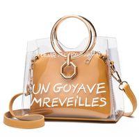 ingrosso borsa trasparente in pvc-Satchel di lusso borsa delle donne borsa gelatina trasparente pvc trasparente borsa di colore della caramella tote borsa del progettista bolsa femminile crossbody # D251