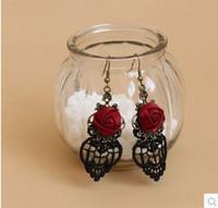 ingrosso orecchini di pizzo neri-Vintage Gothic Vampire Halloween Black Lace Fiori rosa rossa Orecchini pendenti per gioielli moda donna Orecchio