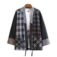 manga longa japonesa venda por atacado-M-5xl plus size xadrez xadrez do vintage camisa dos homens cor do bloco japonês streetwear manga comprida camisa cardigan de gola ...