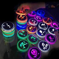 hafif paspaslar toptan satış-Satış Evrensel LED Araç Bardak Tutucu Mat Pad Şişe Su İçecekler Tutucu Pad Coaster Titreşim Sensörü Işık Kapak Lambası Araba Styling