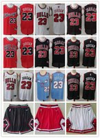 chicago bulls basketball al por mayor-Hombres Bulls23 MichaelJordan Shorts Baloncesto Jersey negro Blanco Rojo Bule Basketball
