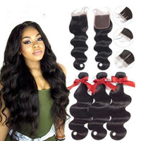 Wholesale braided wefts resale online - My queen hair brazilian Human braiding Hair Bundles weaving with lace closure natural color body wave hair wefts