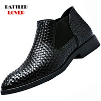 Wholesale brown boot dress shoes resale online - 2019 New Fashion Low Cut Crocodile Pattern PU Leather Boot Shoes Mens Slip on Business Shoes Male Solid Color Formal Dress