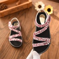 ingrosso tacchi alti piatti-Sandali delle ragazze 3 colori Summer Crystal Shiny Cute Flat Heels Girl Shoes Wedding Party Princess Sandal per Girl Toddler Kids