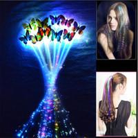 trenzas de pelo intermitente al por mayor-LED flash de concierto partido de la mariposa LED trenza de los accesorios Accesorios para el cabello de Halloween Navidad sombreros juguetes de los niños LED