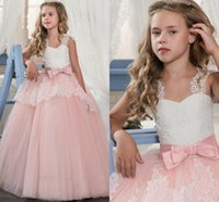 kızlar elbise satmak elbise toptan satış-2019 En çok satan Dantel Çiçek Kız Elbise ile Yay Özel Durum Düğün Çocuk Pageant Törenlerinde A-Line Dantel Aplike İlk Communion