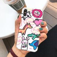 estuches para celulares de animales al por mayor-Para Iphone Xr Casos de teléfono de dibujos animados lindo Animal pintado a mano lado patrón que cubre la caja del teléfono celular para Iphone X 6 7 8 Plus