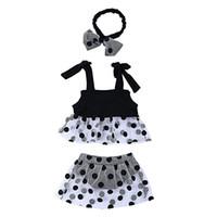 polka dot t-shirt säugling großhandel-Baby Mädchen Outfits Set Polka Dot gedruckt Gurt Top T-Shirt + Mesh Rock PP Shorts + Stirnband 3 Stück Säuglingskleidung