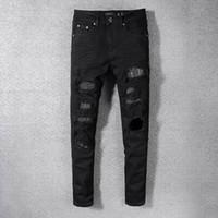 homens jeans espessamento venda por atacado-S19 Chegam Novas AM565 Skinny Motociclista Dos Homens Calça Jeans Desinger em vaca única espessamento Magro jeans Lavados
