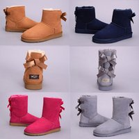 Wholesale australia lighting resale online - 2018 New WGG Bowtie Australia Classic Fashion Knee Boots Ankle boots Black Grey Chestnut Coffee Navy Blue Red Women Girl Snow Boots Eu36