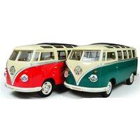 bus jouet vert achat en gros de-Nouveau Style 1:24 Échelle Modèle Voiture Bus Jouets Éducatifs Pour Enfants, vert Rouge Couleur Miniature Voiture Collection Jouets Pour Cadeau D'anniversaire J190525