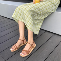 peep toe slingback wohnungen großhandel-Frauen Sommer Sandalen Roma Lace Up Peep Toe Flache Sandalen Casual Plattform Gladiator Slingback Schmalband Rutschen Schuhe