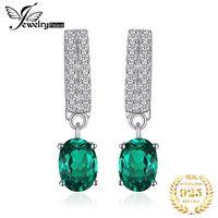 esmeralda acessórios venda por atacado-Jewelrypalace Clipe Brincos Acessórios Mulheres Moda 1.7ct Nano russo Simulado Emerald 925 prata esterlina jóias presentes MX190720