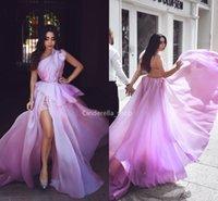 vestido de corsé púrpura claro al por mayor-Abaya un hombro Organza Vestidos de baile Luz púrpura Peplum con cuentas Corsé Volver Vestidos para ocasiones formales con hendidura Vestidos de fiesta árabe 2019