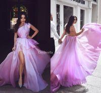 ingrosso vestito corsetto viola chiaro-Abaya una spalla organza abiti da ballo viola chiaro peplo perline corsetto indietro abiti occasioni formali con abiti da festa arabo fessura 2019