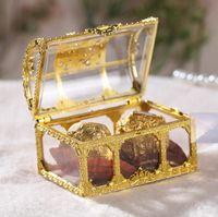 kutu toptan satış-Şeker Kutusu Hazine Göğüs Şeklinde Düğün Favor Hediye Kutusu Delikli-out Şeffaf Favor Sahipleri Avrupa tarzı Kutlama Muhteşem Shining