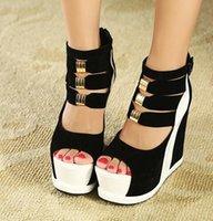 ingrosso scarpe da principessa per le donne-Vendita calda scarpe nuove estate donna tacchi alti femminili sandali gladiatore sandali zeppe open toe scarpe da donna principessa