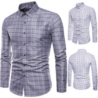 camisas de vestir oxford para hombre al por mayor-Camisa de manga larga de la marca De manga larga para hombre Oxford Formal Casual Plaid Slim Fit camisas de vestir Top camisa masculina chemise homme M-5XL
