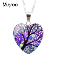 Wholesale abstract glasses paintings resale online - Original Abstract Landscape Painting Tree Art Tree of Life Heart Jewelry Necklace Tree of Life Paintings Heart Pendants HZ3