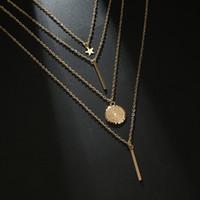 largo collar de cadena sexy al por mayor-4 Unids / set Collares en capas para Mujeres Niñas 2019 Sexy Gargantilla larga Cadena Estrella Geometría Colgante Multicapa Collar Conjuntos Encanto Joyas M095F