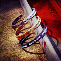 Wholesale bang bracelet resale online - Fashion Couple Bangle Brief Design Stainless Steel Cuff Bang for Women and Men Gold Silver Black Color Alliance Bracelet Hollow Black