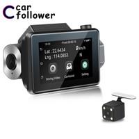 автомобильный удаленный dvr оптовых-Видеорегистратор Андроид 5.0 3 дюйма 2.5 D IPS сенсорный экран HD 1080p автомобильный видеорегистратор записи встроенный GPS WiFi двойной объектив тире Cam дистанционный монитор