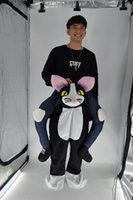 ingrosso costumi neri-Fabbrica personalizzata dei vestiti del costume della mascotte del fumetto della mascotte della gamba protesica della mascotte del piedino della gente del gatto nero su misura camminando festa su misura