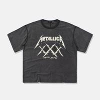 faixa de camiseta venda por atacado-19ss METALLICA Medo de Deus T-Shirt 3D Verão Mens Manga Curta Tee Tops Harajuku Bordado Rock and Roll Banda Metallica Tshirt
