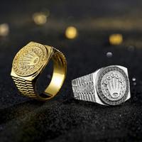 große blaue blumentöpfe großhandel-Vintage Hip Hop Gold Crown Ring Männer Frauen Engagement Hochzeit Ringe Schmuck 2 Farben