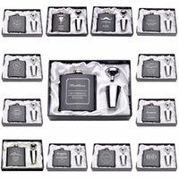 şişe kutuları toptan satış-Kişiselleştirilmiş Kazınmış 6 oz Cep Şişesi Paslanmaz Çelik Beyaz Siyah Kutu Ile Doğum Günü sevgililer Günü Hediyesi Düğün Iyilik