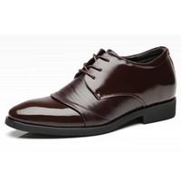 elevador de zapatos al por mayor-Zapatos de cuero genuino de los hombres zapatos de ascensor formal para zapatos de vestir de los hombres de piel del dedo del pie en punta cordones aumento de la altura de 6 cm para hombre zapatos de boda