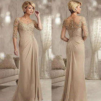 Wholesale bride mother lavender for sale - Group buy Champagne Half Sleeves Lace Mermaid Mother Of the Bride Dresses with Appliques Sweep Train Chiffon Evening Party Gowns