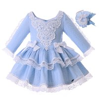 Wholesale fall girl clothes resale online - Pettigirl Blue Fall Dress For Girls With Headband Lace Wedding Party Dress For Infant Baby Girl Clothes T191006