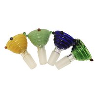Wholesale high quality water bongs resale online - High Quality Colorful Glass Bong Bowls Colored Dotted Round Thread Style Colored Glass Water Bowls For Glass Water Bongs Smoking Pipes