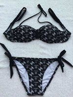 italia mujer sexy al por mayor-Nuevo listado Italia Designer Luxury Letter Bikini 3 piezas Mujer Traje de baño para mujer Traje de baño Ropa de playa Verano Sexy Lady Traje de baño