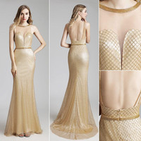 Wholesale sequined cocktail homecoming special occasion dresses online - Vintage Gold silver Luxury sequined Mermaid Evening Dresses Wear yousef aljasmi Sheer Neck Cap Sleeve backless arabic Prom Formal Gowns