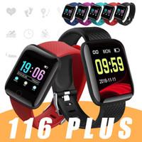 presión arterial inteligente iphone al por mayor-116 Plus Smart Bracelet para iPhone Android Celulares Fitness Tracker ID116 Plus Smartband con frecuencia cardíaca Presión arterial PK 115 PLUS en caja