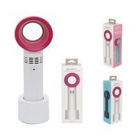 mini usb şarj edilebilir fan toptan satış-Özel USB El Mini Soğutucu Yapraksız Fan Şarj Edilebilir Taşınabilir Yapraksız Fan 3 Fan Hızı Ücretsiz Nakliye