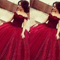 Wholesale yellow green prom dress resale online - 2020 New Dark Red Quinceanera Ball Gown Dresses Off Shoulder Lace Appliqus Sweet Sweep Train Plus Size Backless Party Prom Evening Gowns
