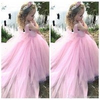 Wholesale rhinestone back wedding dress for sale - Group buy 2020 New Design Tiered Tulle Satin Flower Girl Dress with Lace Appliques Rhinestone Zipper Back Custom Made Girls Pageant Gowns