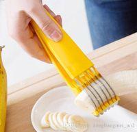 bananenschredder großhandel-Yellow Banana Slicer Shredder Küche DLM2 Frucht-Gemüse-Chopper Schneider DLM2s für Obstsalate Edelstahl mit 2PC H113 Farbenkasten