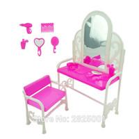 kammspiegel groihandel-1 Set Dresser Schreibtisch Spiegel Stuhl Comb Handspiegel Fön Parfüm-Flasche 1: 6 Puppenzubehör Für Barbie FR Kurhn Puppe