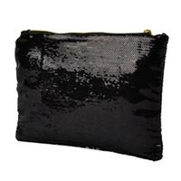 bolso negro brillante al por mayor-Las mujeres brillantes lentejuelas deslumbrante brillo Bling noche embrague fiesta bolso bolso regalo (negro)