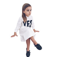 Wholesale drop ship kids clothes resale online - Long Sleeve Kids Baby Girl Clothes Winter Hooded Letter Sweatshirts Pullover Dress Outfits Spring Autumn Drop Shipping