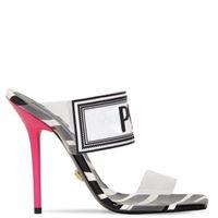 обувь stiletto 43 оптовых-Фактическая обувь большой размер 42 43 Женские сандалии Роскошные дизайнерские туфли Slide Летние модные туфли на шпильках Скользкие сандалии из ПВХ Тапочки с коробкой
