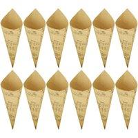 geschenk taschen band großhandel-Behogar 50 PCS Retro Packpapier Cones Blumenstrauß Süßigkeit Schokolade Taschen Boxen Hochzeit Verpackung Geschenke mit Band-Anmerkungs-Art