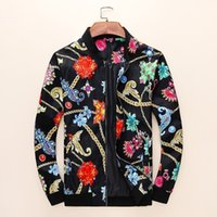 örme kumaş çiçek toptan satış-Yeni erkek Ceket moda üst Renkli çiçek baskı Örgü Kumaş Göğüs Nakış Desen Dekorasyon M-3XL