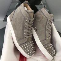 Designer Turnschuhe hoch oben Spikes Ebene Schuh Rot Unterseite für Männer und Frauen Bolzen sichern die Zehe Leder Partei Designer Schuhe