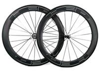 kara yol bisikleti toptan satış-700C 60mm derinlik Yol karbon jantlar 25mm genişlik Yol bisikleti kattığı / boru şeklindeki karbon tekerlek U-şekil jant UD mat bitirmek beyaz HED Siyah çıkartmaları